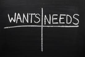 wants, needs chalkboard